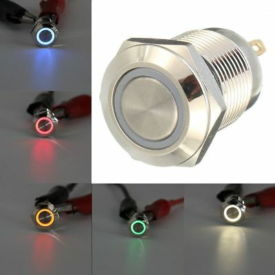 16/19/22mm 12V LED Power Push Button Switch Momentary Waterproof Metal