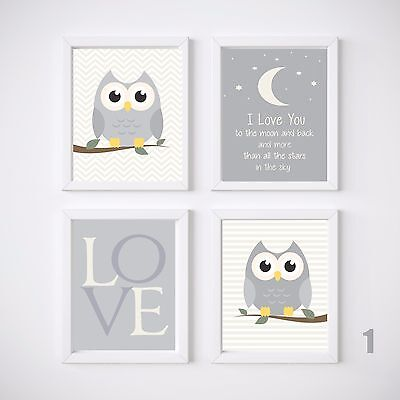 Owl Nursery Room Prints, Kids wall decor, Choice of Design and Size