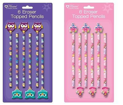 PRINCESS / OWL Novelty Pencils with Eraser Toppers Childrens Party Bag Fillers