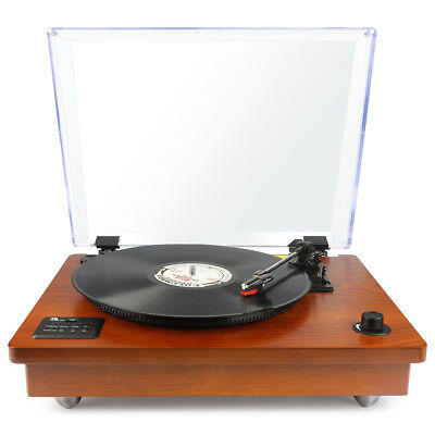 1byone Wooden Bluetooth Turntable USB Recording Built-in Pre-Amplifier 3 Speeds
