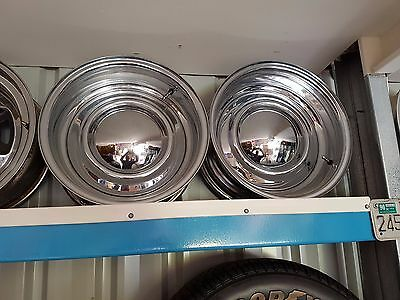 Two Smoothie Chrome Steel Rims Wheels Milti Fit 15x7 Chev Ford Holden with Caps