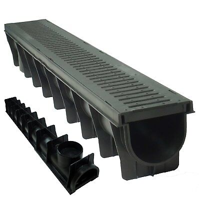 4 x Drain Channel Deep Drainage Plastic PVC Heavy Duty for Water Rain Storm 1m