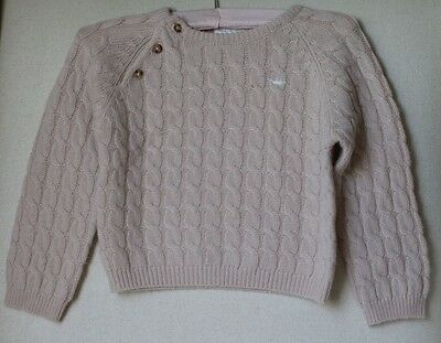 Marie Chantal Baby Beige Cashmere Cable Knit Sweater Cardigan 24 Months