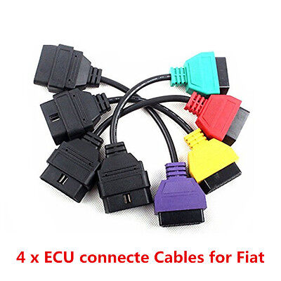 Portable 4X ECU Scan OBD2 Adaptors Cable Full Set For Fiat ECUScan MultiEcuScan