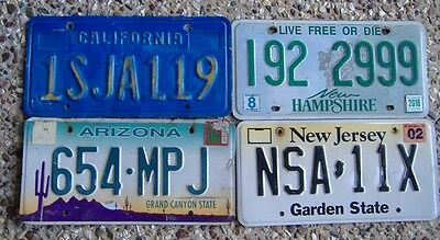 4 Good Condition  Number Plates From Different American States