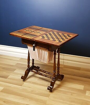 Antique Victorian Mahogany Inlaid Games / Work Table, Excellent Condition c1860