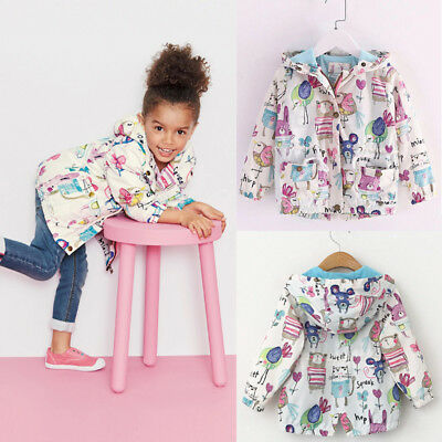 2-7Y Toddler Baby Kids Spring Hooded Clothes Floral Coat Boy Girl Jacket Outwear