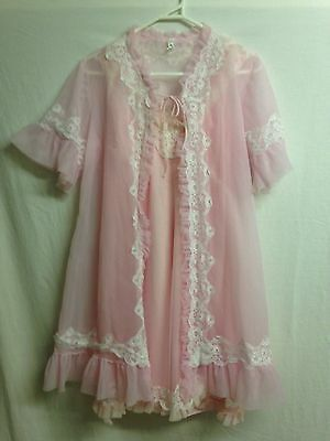Vintage Negligee and babydoll in pink Size S