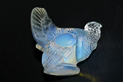 STATUETTE SUJET DINDON VERRE OPALESCENT Marqué SABINO France collection vitrine