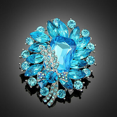 Gorgeous Silver Plated Blue Crystal Vintage Inspired Statement  Brooch