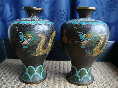 Chinese cloisonne vases 5 toed yellow dragon, hand decorated