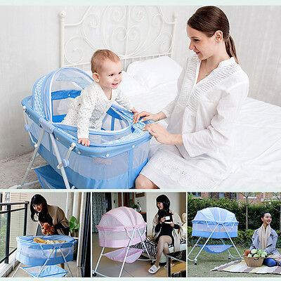 Folding Portable Baby Bassinet Crib Newborn Cradle Bed Nursery Infant Sleeper