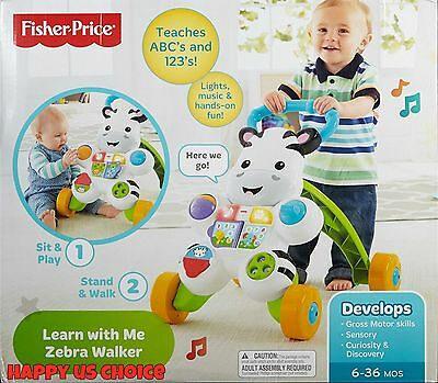 Fisher-Price Learn with Me Zebra Walker Sit & Play & Stand & Walk FREE SHIPPING