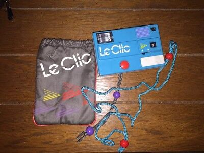 Vintage Blue Le Clic Disc Camera with Carry Bag 1980s Retro