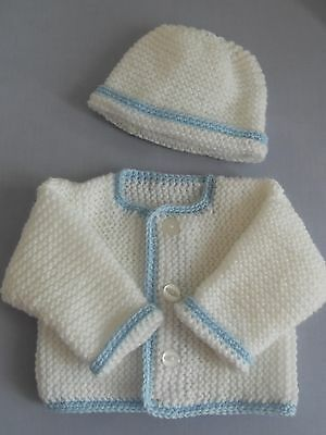 Hand knitted baby cardigan and hat set in white and blue for premature baby