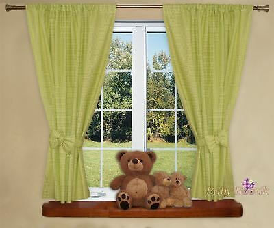 Nursery Curtains with Decorative Bows For Baby's Room 62 x 62 inch - Green Check