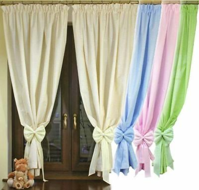 Junior Kids Baby Room Nursery Window Curtains Tape Pencil Pleat Check Plain