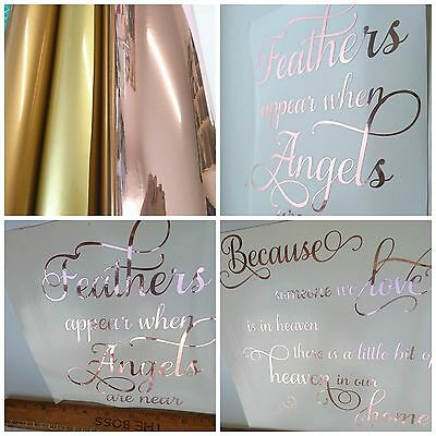 A4 sheet ROSE GOLD Mirrored Two Way Sticky back Vinyl Polyester Film idea crafts