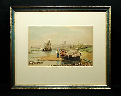 Late 19Th - Early 20Th C. British Maritime Watercolor (Reframed) W/boats/figures