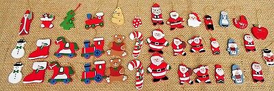 38 Vintage Wooden Christmas Ornaments Santa Stocking Train Cardinal Candy Canes