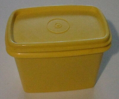 Tupperware Vintage Retro Yellow Rectangle Small Pantry Shelf Canister Container