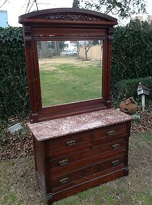 Antique Drawer Unit with Marble Top and Framed Mirror
