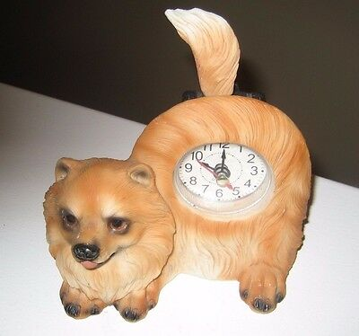 Adorable Pomeranian Battery-Operated Clock - Good Working Condition