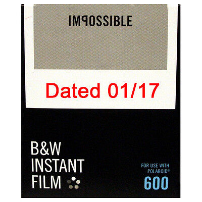 Impossible 600 Type BLACK AND WHITE Instant Film - DATED 01/2017