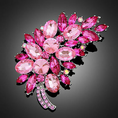 Beautiful Silver Plated Pink Crystal Flower Vintage Inspired Statement Brooch