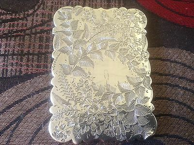 Victorian Silver Card Case, Engraved Flower and leaf Hilliard & Thomason,1891
