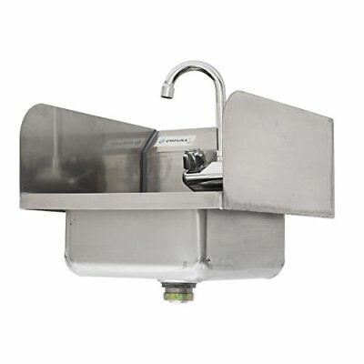 Commercial Stainless Steel Wall Mount Hand Washing Sink w/ Faucet With SideSp...