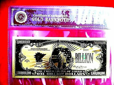 BANKNOTE US AMERICA $1 Billion GOLD COLOR COLOURED DOLLAR BILL 24KT COLLECTABLE