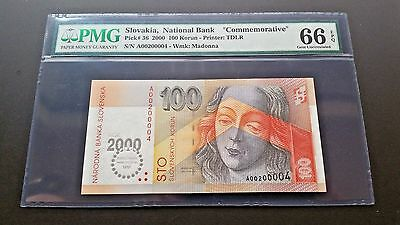 "Slovakia, National Bank ""commemorative 100 Korun Pmg 66 Gem Epq"