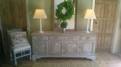 Large, French grey, rustic, distressed sideboard/ dresser/cabinet