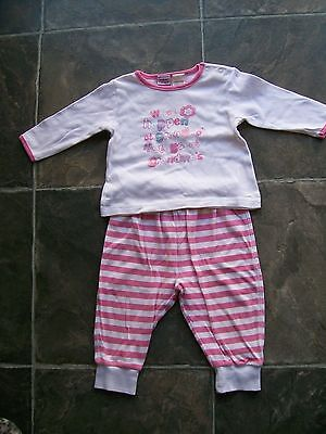 Baby Girl's Pink & White Cotton Knit Pyjamas Size 0