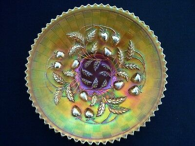 Stunning Carnival Glass Shallow Table Bowl with Berry and Vine Motifs