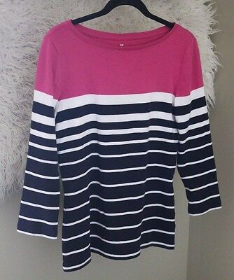 Talbots Top Womens Pink Black Pima Cotton Small Striped 3/4 Sleeve Shirt Casual