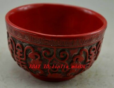 Chinese Red Coral Carved Grape Figure Bowl - fu foo longevity meaning