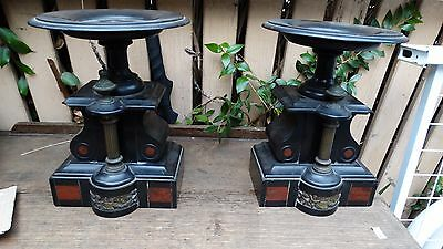 2x Antique French PEDESTAL COLUMN STAND Clock vase Marble ?