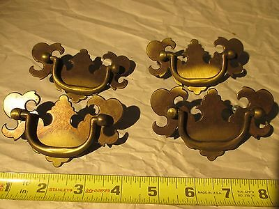 "Vintage Fancy Brass Pull Handle Drawer Chest 2 1/2"" CC 3 3/4""Long Set of 4"