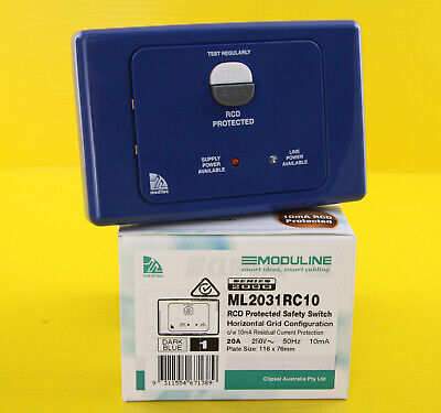 Clipsal ML2031RC10  RCD Protected Safety Switch 250V 20A 2P Horizontal Dark Blue