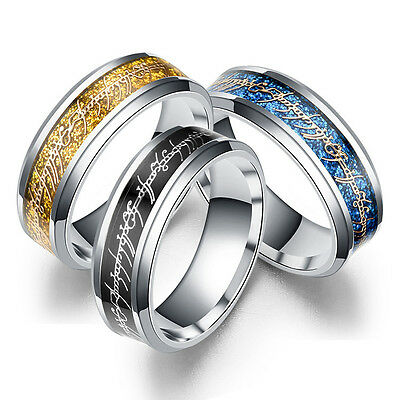 Lord of the Rings Stainless Steel Bilbo's Hobbit Gold Ring Men's Band Size 6-13