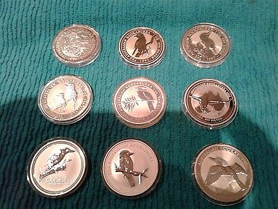 AUSTRALIAN SILVER KOOKABURRA BU 1 oz.SILVER SET OF 9 DATES! Collector Special!!!