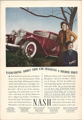 Nash Everything Suggests Higher Price Six Eight Vintage Ad 1933