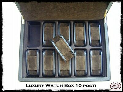 Scatola porta orologi 10 posti in saffiano. Luxury watch box