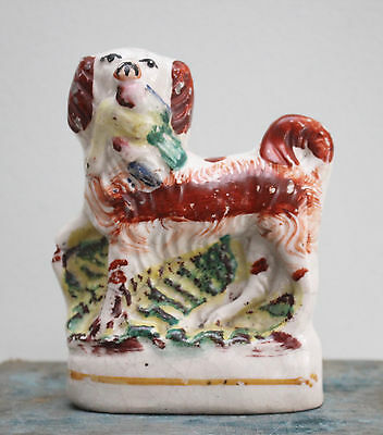 A Rare Antique c19th Miniature (11cm) Staffordshire Spaniel, Bird in Mouth