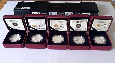 SILVER Canada MAPLE LEAF 1/2 Ounce LOT of 5 Coins 2011 2013 2014 2015 2016