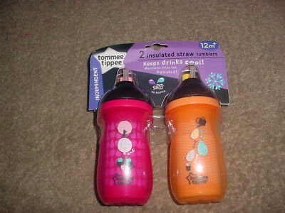 Tommee Tippee Straw Tumbler Sippy Cup New 12+Months Pink Orange