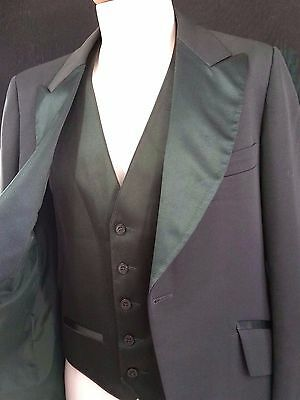 Mens Vintage Forest Green Tuxedo Jacket & Vest Union Made in USA Wide Lapels 41S