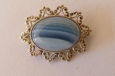Lovely Vintage Sterling Silver with blue agate stone brooch